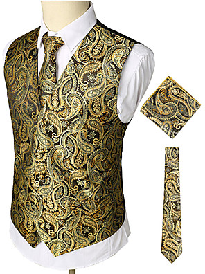cheap Evening Dresses-Men's Work / Club Business / Luxury / Vintage Spring / Fall / Winter Regular Vest, Paisley V Neck Sleeveless Cotton / Spandex Print Gold / Business Casual / Slim