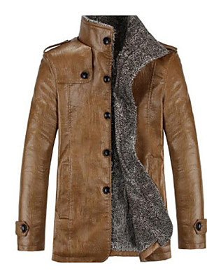 cheap Men's Jackets & Coats-Men's Daily Basic Fall / Winter Plus Size Regular Jacket, Solid Colored Stand Long Sleeve PU Black / Brown / Khaki