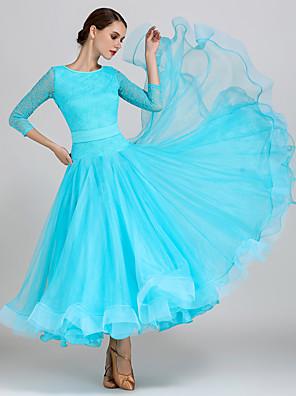 cheap Ballroom Dancewear-Ballroom Dance Dress Lace Women's Training Performance 3/4 Length Sleeve High Lace Organza