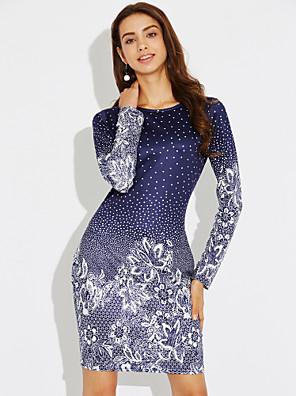 cheap Women's Dresses-Women's Short Mini Dress Blue Sheath Dress - Long Sleeve Floral Print Spring Fall Party Holiday Slim Blue S M L XL XXL XXXL