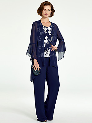 cheap Mother of the Bride Dresses-Pantsuit / Jumpsuit Mother of the Bride Dress Wrap Included Jewel Neck Floor Length Chiffon Lace Long Sleeve with Pattern / Print 2020