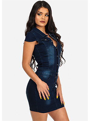 cheap Casual Dresses-Women's Short Mini Dress Bodycon - Short Sleeve Solid Colored Spring Summer Shirt Collar Street chic Daily Weekend Slim Blue S M L XL XXL / Denim