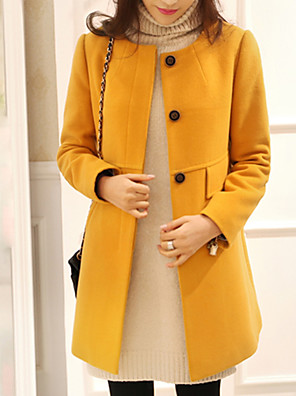 cheap Women's Coats & Trench Coats-Women's Daily Basic Plus Size Long Coat, Solid Colored Turtleneck Long Sleeve Polyester Black / Yellow / Red / Slim