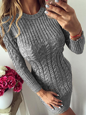 cheap Women's Dresses-Women's Bodycon Dress - Long Sleeve Knitted Twisted Basic Daily Casual Skinny Blue Silver Navy Blue Beige Gray Light Blue S M L XL