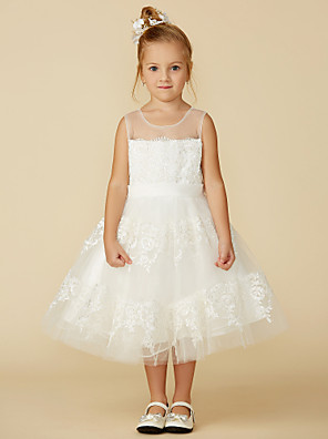 cheap Junior Bridesmaid Dresses-A-Line Tea Length Wedding / First Communion Flower Girl Dresses - Lace Sleeveless Jewel Neck with Lace / Sash / Ribbon