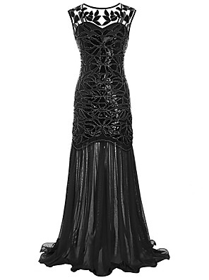 cheap Maxi Dresses-The Great Gatsby Charleston 1920s Roaring Twenties Flapper Dress Women's Lace Sequins Costume Black / Golden / Black+Golden Vintage Cosplay Party Homecoming Prom Sleeveless Floor Length / Leaf
