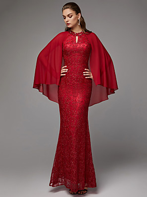 cheap Prom Dresses-Sheath / Column Sexy Red Wedding Guest Formal Evening Dress Jewel Neck Long Sleeve Floor Length Chiffon Lace with Beading Draping Lace Insert 2020