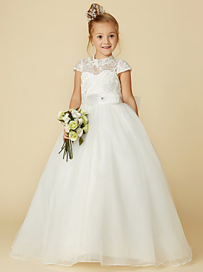 cheap Flower Girl Dresses-Ball Gown Floor Length Wedding / First Communion Flower Girl Dresses - Lace / Tulle Short Sleeve High Neck with Lace / Sash / Ribbon / Bow(s)