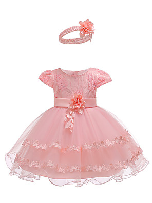 cheap Girls' Dresses-Baby Girls' Active Basic Party Birthday Solid Colored Lace Short Sleeve Above Knee Dress Blushing Pink