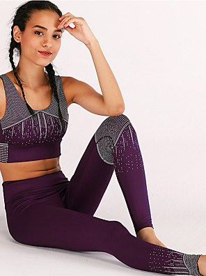 47d0366005a Women s Wirefree Yoga Suit Army Green Blue Burgundy Sports Print High Rise  Tights Bra Top Clothing
