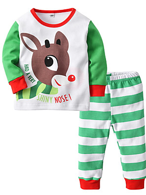cheap Boys' Tops-Kids Boys' Basic Striped Print Long Sleeve Clothing Set Light Green