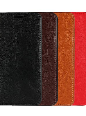 cheap iPhone Cases-Case For Apple iPhone XS / iPhone XR / iPhone XS Max Wallet / Card Holder / with Stand Full Body Cases Solid Colored Hard Genuine Leather
