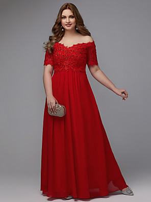 cheap Prom Dresses-A-Line Plus Size Red Engagement Formal Evening Dress Off Shoulder Short Sleeve Floor Length Chiffon with Beading Appliques 2020