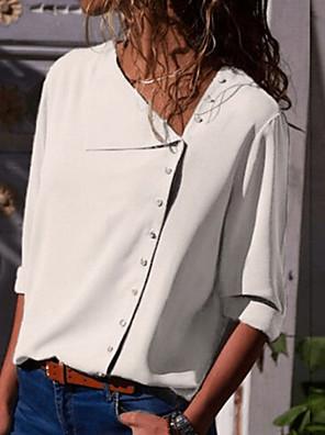 cheap Women's Blouses-Women's Solid Colored Dusty Rose Slim Shirt Basic Daily Shirt Collar White / Black / Yellow / Blushing Pink / Green / Navy Blue / Gray