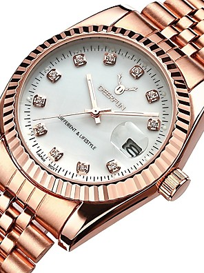 cheap Quartz Watches-Women's Luxury Watches Wrist Watch Diamond Watch Quartz Ladies Water Resistant / Waterproof Stainless Steel Silver / Rose Gold Analog - Rose Gold Rose Gold / Silver Rose Gold / White Two Years