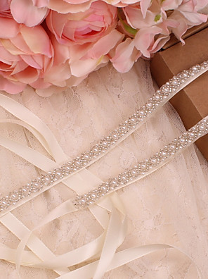 cheap Prom Dresses-Satin / Tulle Wedding / Special Occasion Sash With Imitation Pearl Women's Sashes