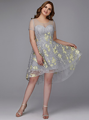 cheap Plus Size Dresses-Back To School A-Line Floral Cocktail Party Dress Jewel Neck Short Sleeve Asymmetrical Lace with Embroidery Appliques 2020 Hoco Dress