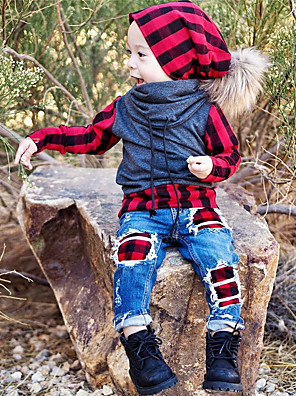 cheap Boys' Clothing Sets-Kids Toddler Boys' Active Basic Daily Sports Plaid Patchwork Long Sleeve Regular Clothing Set Red