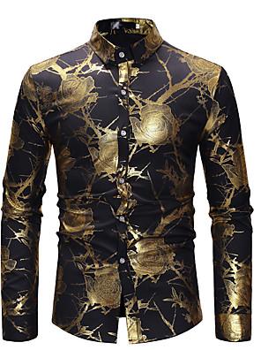 cheap Shirts-Men's Shirt Floral Print Long Sleeve Tops Luxury Basic White Black Wine
