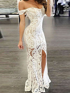 cheap Special Occasion Dresses-Women's Bodycon Maxi long Dress - Sleeveless Solid Color Paisley Lace Split Off Shoulder Sexy Cocktail Party Prom Birthday White S M L XL