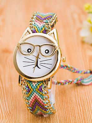 cheap Quartz Watches-Women's Wrist Watch Quartz Wrap Ladies Casual Watch Nylon Pink / Yellow / Navy Analog - Red / Blue Blue / Black Black / Gold
