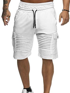 cheap Men's Pants & Shorts-Men's Basic Daily Shorts Pants - Solid Colored Drawstring White Red Green M / L / XL