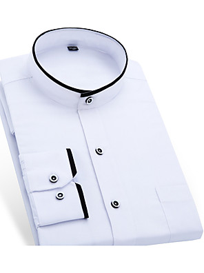 cheap Shirts-Men's Solid Colored Shirt - Cotton Business Basic Daily Work Weekend Standing Collar White / Black / Long Sleeve / Short Sleeve