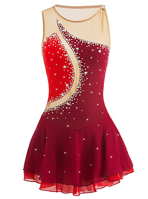 cheap Cocktail Dresses-Figure Skating Dress Women's Girls' Ice Skating Dress Black Orange red Sky Blue Patchwork Elastane High Elasticity Competition Skating Wear Handmade Jeweled Rhinestone Sleeveless Ice Skating Figure