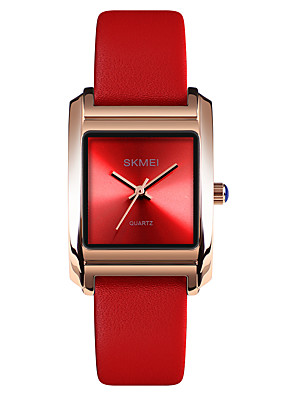 cheap Quartz Watches-SKMEI Women's Dress Watch Wrist Watch Square Watch Quartz Ladies Water Resistant / Waterproof Genuine Leather White / Red / Green Analog - White Purple Red One Year Battery Life