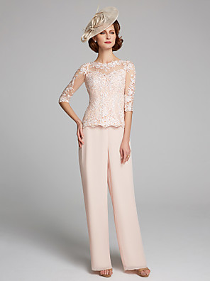 cheap Mother of the Bride Dresses-Pantsuit / Jumpsuit Mother of the Bride Dress Bateau Neck Floor Length Chiffon Lace 3/4 Length Sleeve with Lace 2020