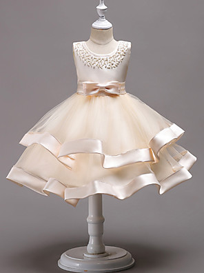 cheap Flower Girl Dresses-Princess Knee Length Wedding / First Communion / Pageant Flower Girl Dresses - 100% Polyester Sleeveless Jewel Neck with Faux Pearl / Bow(s) / Beading