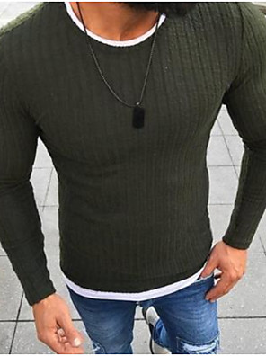 cheap Men's Sweaters & Cardigans-Men's Basic Solid Colored Pullover Long Sleeve Slim Regular Sweater Cardigans Black Red Green