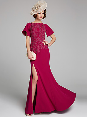 cheap Special Occasion Dresses-Mermaid / Trumpet Mother of the Bride Dress Bateau Neck Floor Length Chiffon Lace Short Sleeve with Lace Split Front 2020