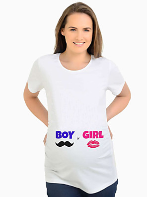 cheap Girls' Dresses-Women's Maternity Solid Colored T-shirt Basic Daily White