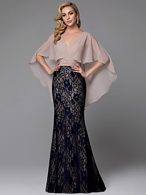 cheap Special Occasion Dresses-Sheath / Column Color Block Vintage Inspired Prom Formal Evening Dress V Neck Long Sleeve Floor Length Chiffon Lace with Lace Insert 2020