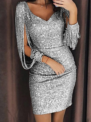 cheap Women's Dresses-Women's Sequin Shinning Party Dress Split Yellow Silver Glitters Sexy Spring & Summer Cocktail Bodycon Solid Color Split Sleeve Deep U Sequins Deep V Glitter S M Slim
