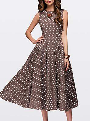 d5ba6e25738 Women s Going out Vintage 1950s A Line Dress - Polka Dot Brown Green Red  XXL XXXL
