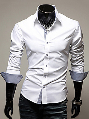 cheap Men's Shirts-Men's Plus Size Solid Colored Basic Slim Shirt Business Daily Work Spread Collar Wine / White / Black / Light Blue / Spring / Fall / Long Sleeve