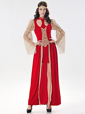 cheap Bridesmaid Dresses-Victorian Medieval Renaissance 18th Century Wasp-Waisted Dress Women's Tulle Costume Red Vintage Cosplay Long Sleeve Long Length