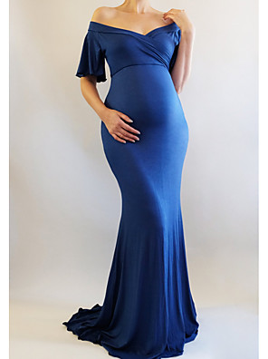 cheap Maternity Dresses-Women's Maternity Maxi Sheath Dress - Half Sleeve Solid Colored Elegant Daily Wine Blue Light Blue S M L XL