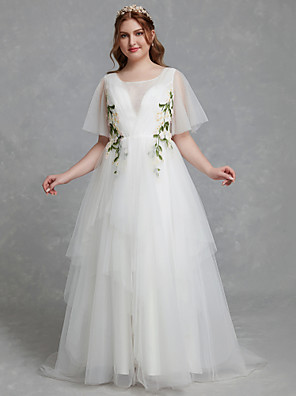 cheap Prom Dresses-A-Line Wedding Dresses Jewel Neck Sweep / Brush Train Tulle Short Sleeve Casual Boho Plus Size with Lace 2020 / Illusion Sleeve