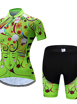 cheap Prom Dresses-Women's Short Sleeve Cycling Jersey with Shorts Polyester Yellow Red Pink Floral Botanical Bike Clothing Suit Breathable Quick Dry Moisture Wicking Sports Floral Botanical Mountain Bike MTB Road Bike