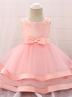 cheap Girls' Dresses-Baby Girls' Active / Basic Party / Birthday Solid Colored Lace Sleeveless Knee-length Cotton Dress Blushing Pink