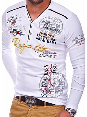 cheap Men's Tees-Men's Tee T shirt Shirt Graphic Letter Long Sleeve Daily Tops Basic Round Neck White Blue Black