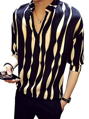 cheap Shirts-Men's Shirt Striped Half Sleeve Tops Black Red