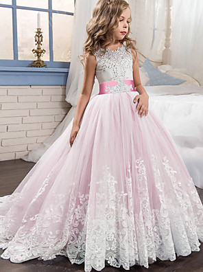 cheap Flower Girl Dresses-Princess Sweep / Brush Train / Long Length Wedding / Party / Pageant Flower Girl Dresses - Lace / Tulle Sleeveless Jewel Neck with Belt / Appliques
