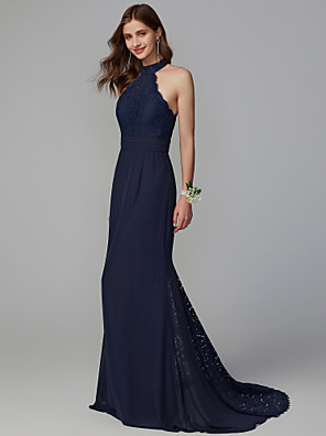 cheap Bridesmaid Dresses-Mermaid / Trumpet High Neck Sweep / Brush Train Chiffon / Lace Bridesmaid Dress with Lace / Buttons