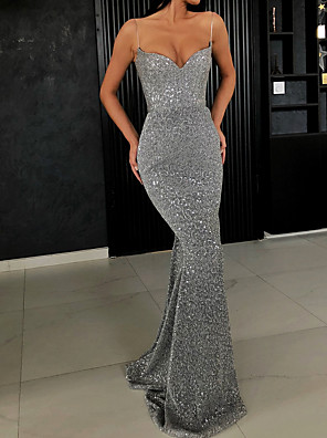 cheap Evening Dresses-Women's Asymmetrical Bodycon Dress - Sleeveless Sequins Glitter Strappy Strap Cocktail Party Prom Slim Black Gray S M L XL