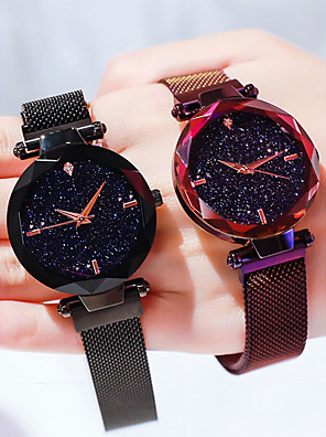 cheap Quartz Watches-Women's Luxury Watches Wrist Watch Quartz Watches Ladies Water Resistant / Waterproof Black / Blue / Purple Analog - Rose Gold Black Purple / Imitation Diamond