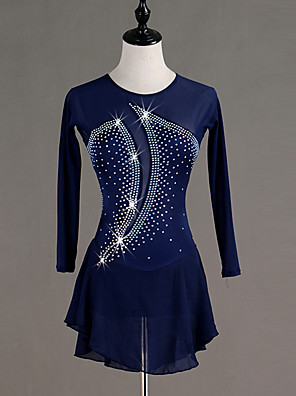 cheap Gymnastics-Figure Skating Dress Crystals / Rhinestones Women's Girls' Training Long Sleeve High Chinlon Tulle